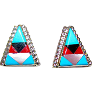 Vintage Native American Zuni Turquoise Coral Jet MOP Mosaic Inlay Post Pierce Earrings