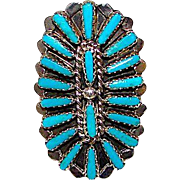 Vintage Old Pawn Native American Zuni Sterling Silver Turquoise Cluster Ring Size 7.5
