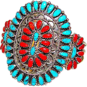 Old Pawn Vintage Native American Navajo Sterling Silver Turquoise Coral Cluster Rosette Statement Cuff Bracelet by Gilbert Maldonado