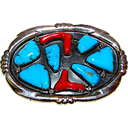 Vintage Navajo W Iule Sterling Silver Branch Coral Turquoise Belt Buckle Signed 45gr