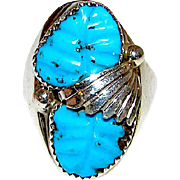 Old Pawn Navajo Sterling Silver Turquoise Large Statement Ring Size 10 Squash Blossom Design 17gr Carved Stone Man Gentleman Ring