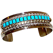Vintage Navajo Sterling Silver Sleeping Beauty Mine Turquoise Statement Cuff Bracelet Artist Signed Native American Bracelet