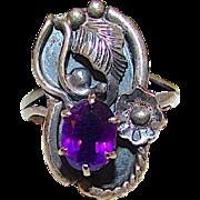 Vintage Native American Navajo Sterling Silver Purple Amethyst Ring Size 7 Squash Blossom Design