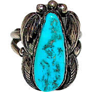 Vintage Old Pawn Native American Navajo Sterling Silver Kingman Mine Turquoise Ring Size 7 Squash Blossom Design