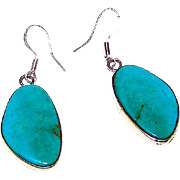 Vintage Native American Navajo Sterling Silver Royston Mine Turquoise Pierced Dangle Statement Earrings by Benjamin Piaso