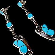 Zuni Sterling Silver Turquoise Inlay Butterfly Dangle Earrings Native American Zuni Butterfly Earrings
