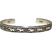Native American Navajo Sterling Silver Running Horse Design Cuff Bracelet Hand Etched Native American Jewelry Galloping Mustang Bracelet