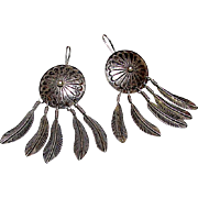 Native American Old Pawn Navajo Sterling Silver Dream Catcher Statement Earrings