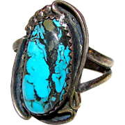 Vintage Old Pawn Native American Navajo Sterling Silver Blue Diamond Mine Turquoise Statement Ring Size 7