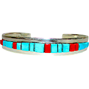 Native American Navajo Sterling Silver Turquoise Coral Cuff Bracelet by Ed Becenti