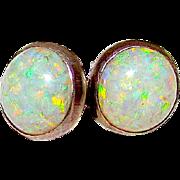 Native American Navajo Sterling Silver Fire Opal Post Earrings