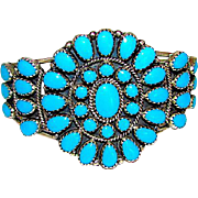 Vintage Native American Navajo Sterling Silver Turquoise Cluster Rosette Statement Cuff Bracelet by Highly Collectible Betsey Begay Nez