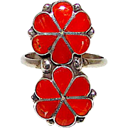 Vintage Old Pawn Native American Zuni Sterling Silver Mediterranean Coral Flower Custer Ring Size 7 Mosaic Inlay