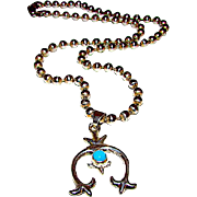 Vintage Native American Navajo Sterling Silver Turquoise Squash Blossom Necklace Sand Cast Naja