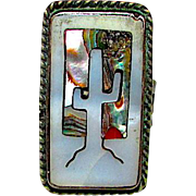 Navajo Native American Sterling Silver MOP Abalone Shell Coral Inlay Ring Size 8 Statement Ring Mesa Sunset Saguaro Cactus Design
