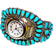 Vintage Native American Navajo Sterling Silver Turquoise Lady's Watch Cuff Bracelet Jerry & Wilma Begay