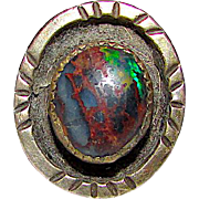 Vintage Native American Navajo Sterling Silver Genuine Raw Opal Statement Ring Size 9 by Edward Platero
