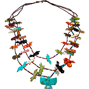 Vintage Zuni Hand Carved Semi Precious Stones Fetish Multi Strand Necklace