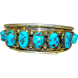 Old Pawn Native American Navajo Sterling Silver Kingman Mine Turquoise Cuff Bracelet Hand Etched Design Nice Old Piece