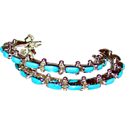 """Native American Zuni Sterling Silver Sleeping Beauty Mine Turquoise Pierced 1 1/4"""" Hoop Earrings"""