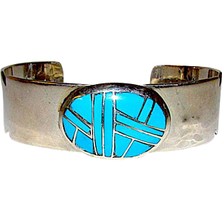 Vintage Native American Navajo Sterling Silver Turquoise Channel Inlay Cuff Bracelet Signed