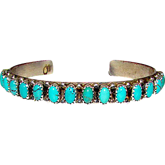 Vintage Native American Navajo Sterling Silver Morenci Mine Turquoise Cuff Bracelet by the Collectible Artist Mark Spencer