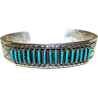 Vintage Native American Zuni Sterling Silver Sleeping Beauty Mine Turquoise Cuff Bracelet Hand Etched Tribal Design by Jim Yawakia