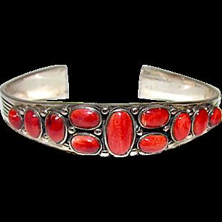 Vintage Navajo Sterling Silver Red Spiny Oyster Cuff Bracelet Native American Signed Bracelet