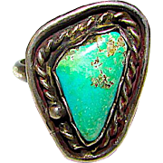 Vintage Native American Navajo Sterling Silver Turquoise Ring size 6