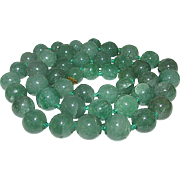 Vintage Green Jade Jadeite Semi Translucent Necklace 8-9mm Beads Beaded Necklace
