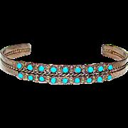 "Old Pawn Native American Zuni Sterling Silver Sleeping Beauty Mine Turquoise Cuff Bracelet ""Snake Eyes"" Design"