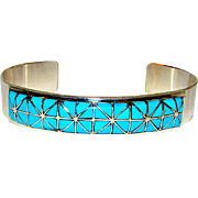 Native American Zuni Sterling Silver Turquoise Mosaic Inlay Cuff Bracelet by Collectible Gloria Tucson