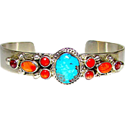 Native American Navajo Sterling Silver Turquoise Coral Spiny Oyster Cuff Bracelet by the Highly Collectible Artists Vernon & Clarissa Hale