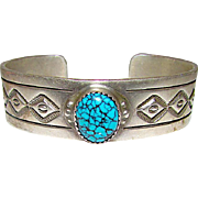 Vintage Native American Navajo Sterling Silver Spiderweb Turquoise Cuff Bracelet Hand Etched Design by Timy Yazzie
