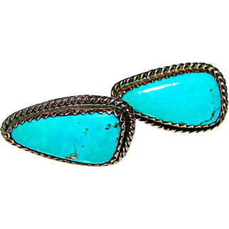 Old Pawn Native American Navajo Sterling Silver Morenci Mine Turquoise Pierced Post Earrings