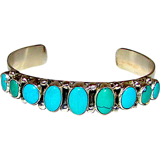 Native American Navajo Sterling Silver Royston Turquoise Cuff Bracelet by the Highly Collectible Artists Vernon & Clarissa Hale