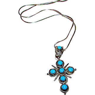 Native American Zuni Old Pawn Sterling Silver Coral Turquoise Reversible Cross Pendant Necklace