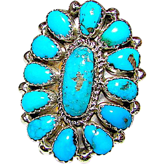 Vintage Native American Navajo Sterling Silver Sleeping Beauty Mine Turquoise Cluster Ring Size 8 by Jose and Eunice Wilson