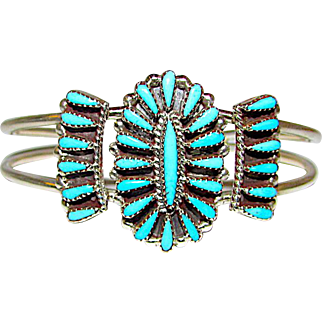 Vintage Native American Zuni Sterling Silver Turquoise Cluster Rosette Cuff Bracelet by Highly Collectible Judy Wallace