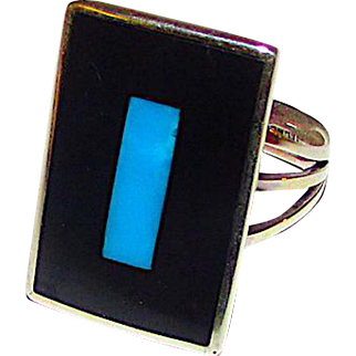 Native American Zuni Sterling Silver Turquoise Black Onyx Jet Inlay Ring in Size 7 by Harlan Coonsis
