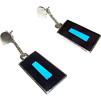 Native American Zuni Sterling Silver Turquoise Black Onyx Jet Inlay Dangle Earrings by Harlan Coonsis