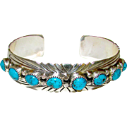 Vintage Navajo Sterling Silver Turquoise Cuff Bracelet Native American Signed Kingman Mine Turquoise