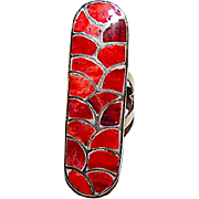 Zuni Sterling Silver Red Coral Ring Size 8 Mosaic Inlay Design Ring by Highly Collectible Carmichael Haloo Huge Statement Ring