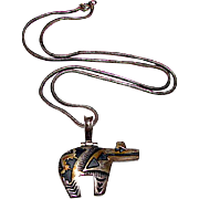 Vintage Native American Navajo Sterling Silver 12K Gold Overlay Pierced Bear Pendant Necklace Jim Taylor
