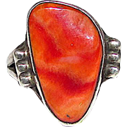 Vintage Native American Navajo Sterling Silver Spiny Oyster Statement Ring Size 7 Etched and Signed by Collectible Fred Begay