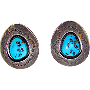 Old Pawn Native American Navajo Sterling Silver Kingman Mine Turquoise Clip On Earrings Shadow Box Design