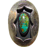 Old Pawn Native American Navajo Sterling Silver Legendary Cerrillos Mine Turquoise Statement Ring Size 7.5 Shadow Box Hand Etched Design
