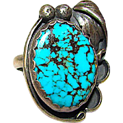 Old Pawn Native American Navajo Sterling Silver Kingman Mine Turquoise Statement Ring Size 7.5 Squash Blossom Hand Etched Design