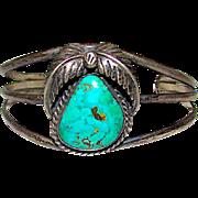 Old Pawn Navajo Sterling Silver Morenci Turquoise Cuff Bracelet Squash Blossom Design Native American Bracelet