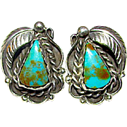 Old Pawn Native American Navajo Sterling Silver Morenci Mine Green Blue Turquoise Pierced Post Earrings Squash Blossom Design
